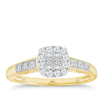 18ct Yellow Gold 1/3 Carat Diamond Square Cluster Ring - Product number 5262631