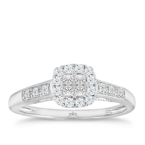 Princessa 18ct White Gold 1/3ct Diamond Square Cluster Ring - Product number 5262763