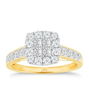 18ct Gold 2/3 Carat Diamond Princessa Cluster Ring - Product number 5263174