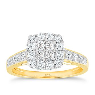 Princessa 18ct Yellow Gold 2/3ct Diamond Cluster Ring - Product number 5263174