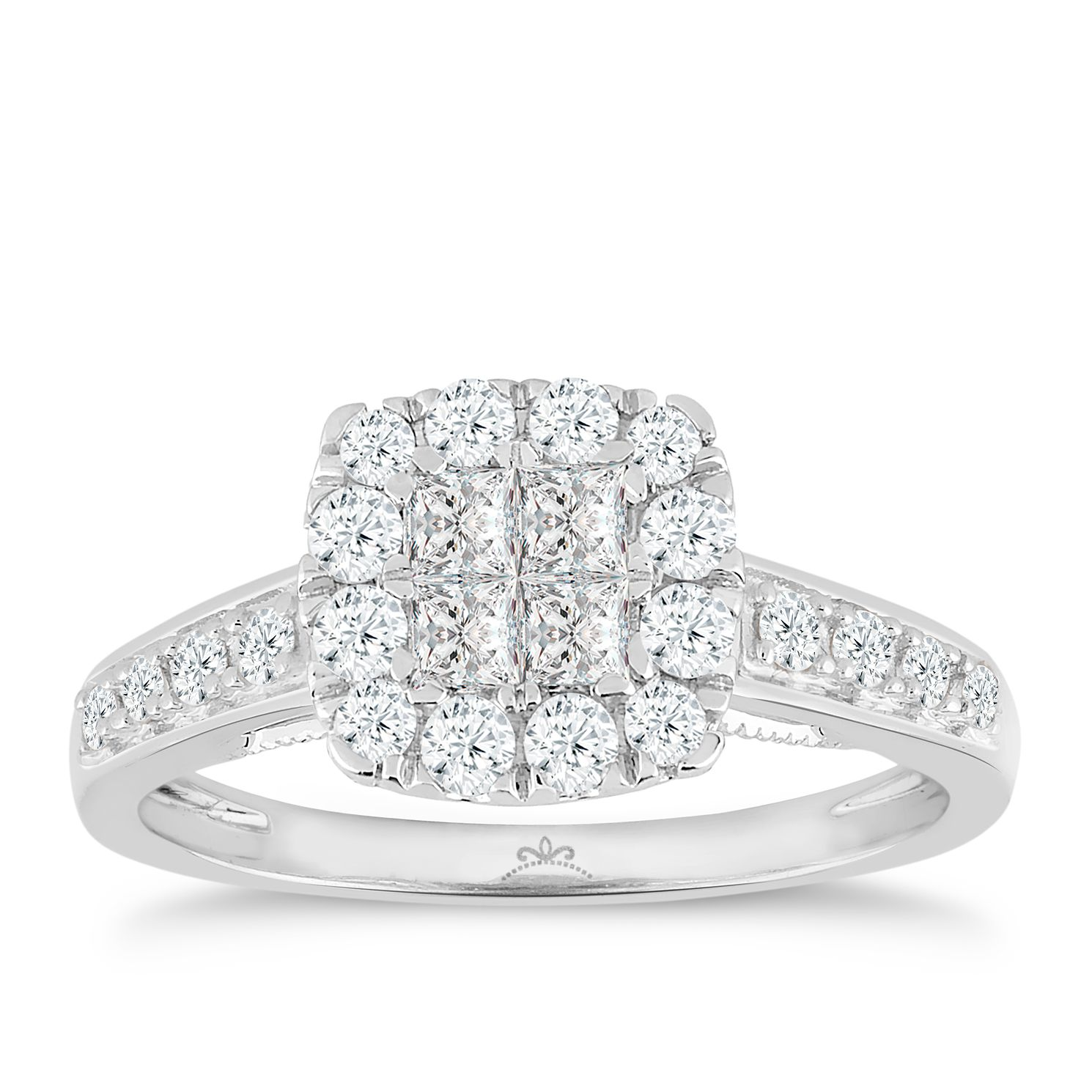 Princessa 18ct White Gold 2/3ct Diamond Square Cluster Ring - Product number 5263301