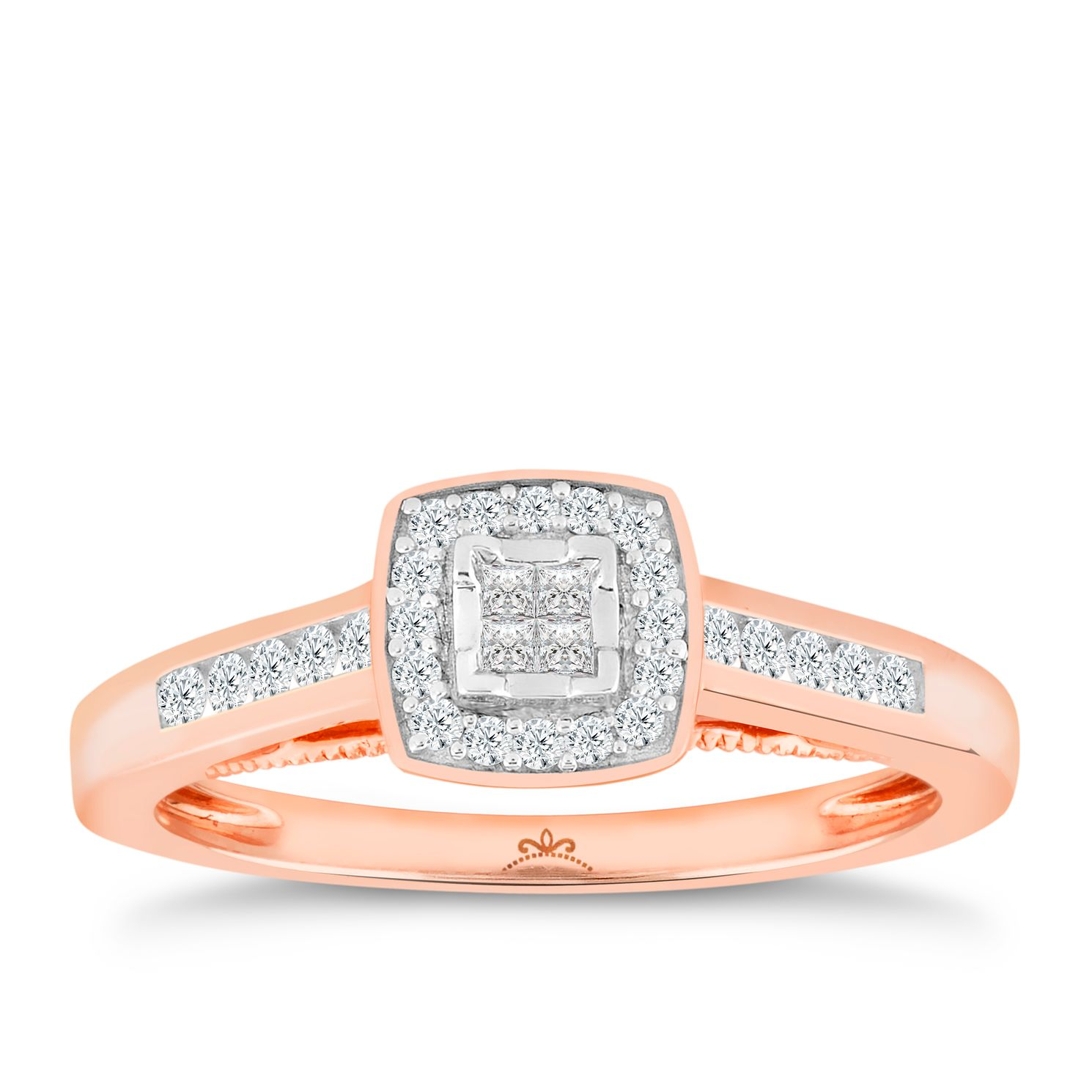 Princessa 9ct Rose Gold 0.25ct Diamond Cluster Ring - Product number 5263565