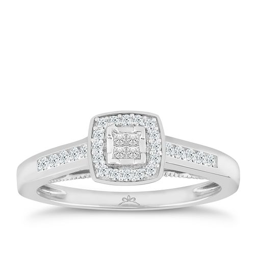 Princessa 18ct White Gold 1/4ct Diamond Cluster Ring - Product number 5263719
