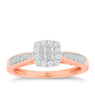 9ct Rose Gold 1/3 Carat Diamond Princessa Cluster Ring - Product number 5263972