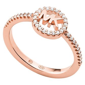Michael Kors Love Rose Gold Tone Cubic Zirconia Ring - P - Product number 5265002