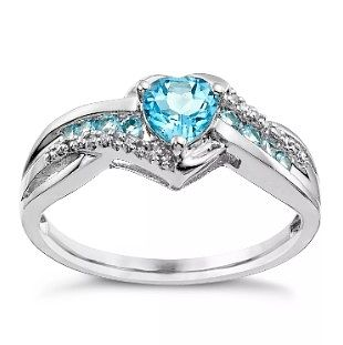 Argentium Silver Blue Topaz & Diamond Heart Ring - Product number 5265096