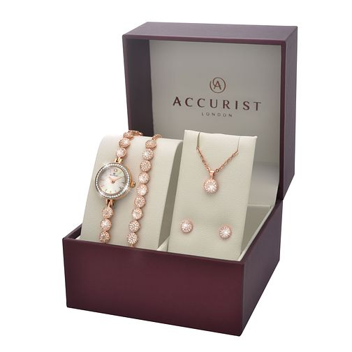 Accurist Ladies' Rose Watch Bracelet Earring and Pendant Set - Product number 5267021