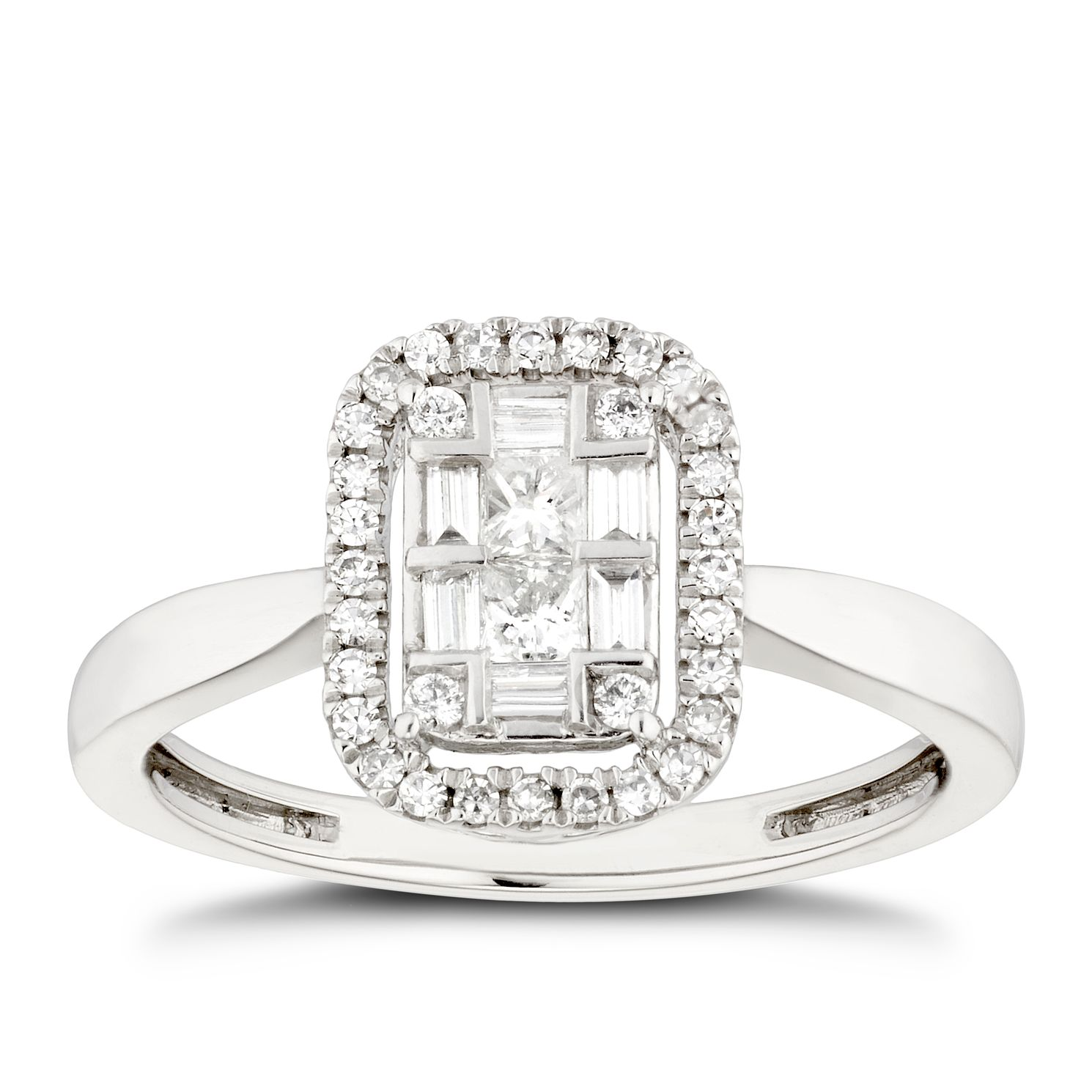 Platinum 0.33ct Total Diamond Mixed Cut Cluster Ring - Product number 5267056