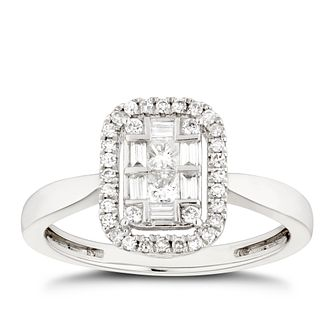 Platinum 1/3ct Diamond Mixed Cut Cluster Ring - Product number 5267056