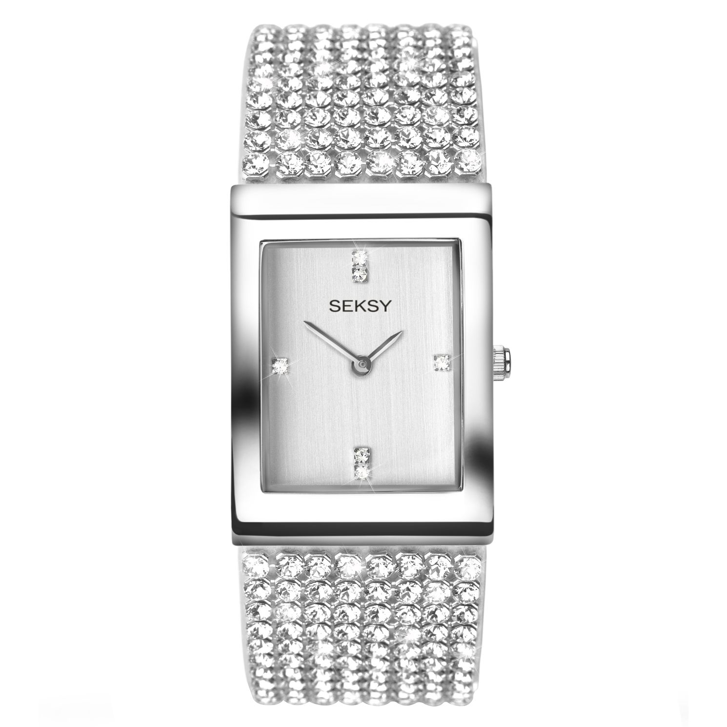 Seksy Ladies' Crystal Rhodium-Plated Bracelet Watch - Product number 5267536