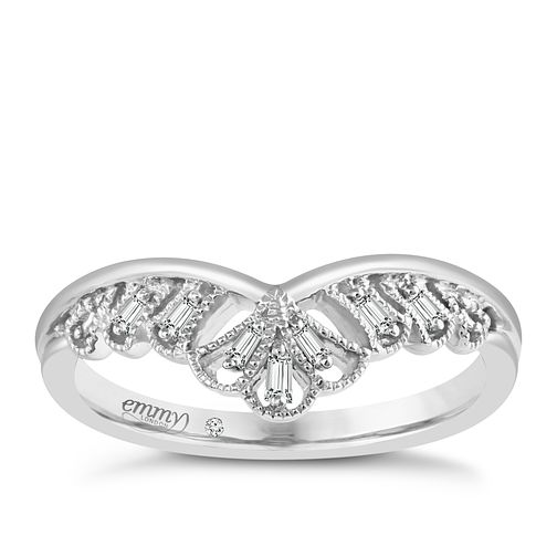 Emmy London Platinum Baguette Diamond Set Ring - Product number 5271487