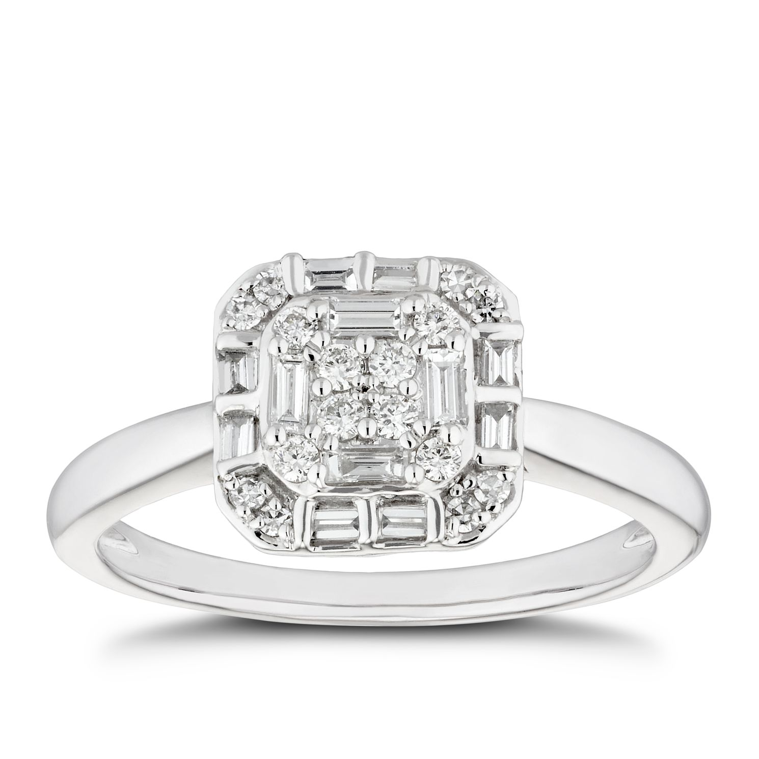 Platinum 0.25ct Total Diamond Mixed Cut Cushion Cluster Ring - Product number 5272564