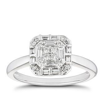 Platinum 1/4ct Diamond Mixed Cut Cushion Cluster Ring - Product number 5272564
