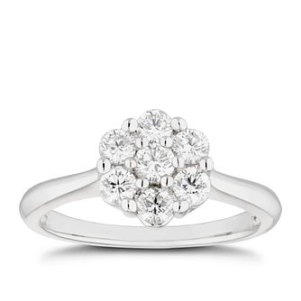 Platinum 1/2ct Diamond Flower Cluster Ring - Product number 5274885