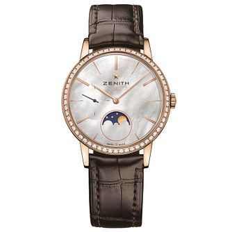 Zenith Elite Primero Ladies' 18ct Rose Gold Strap Watch - Product number 5275482