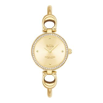 Coach Park Crystal Ladies' Yellow Gold Tone Bracelet Watch - Product number 5275911