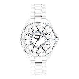Coach Preston Crystal Ladies' White Ceramic Bracelet Watch - Product number 5275946