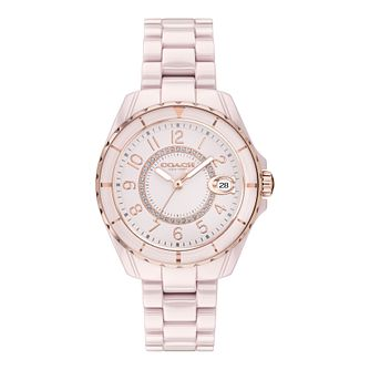 Coach Preston Crystal Ladies' Pink Ceramic Bracelet Watch - Product number 5275954