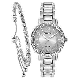 Citizen Ladies' Crystal Bracelet Watch & Bracelet Gift Set - Product number 5276322