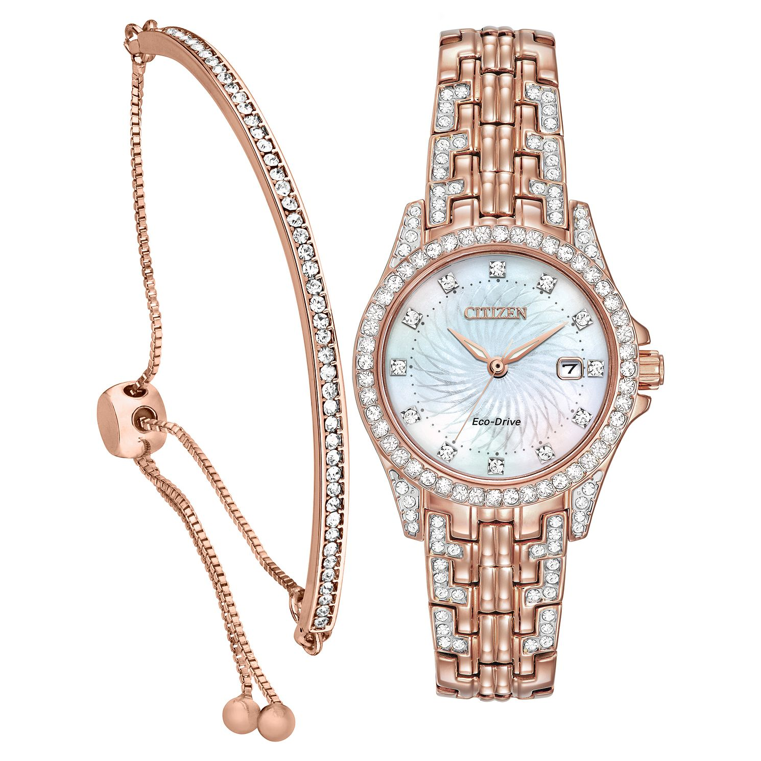 Citizen Ladies' Crystal Eco-Drive Watch & Bracelet Gift Set - Product number 5276330