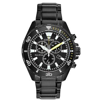 Citizen Eco-Drive Chronograph Men's Black IP Bracelet Watch - Product number 5276373