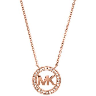 Michael Kors Rose Gold Tone Logo Stone Set Necklace - Product number 5277302