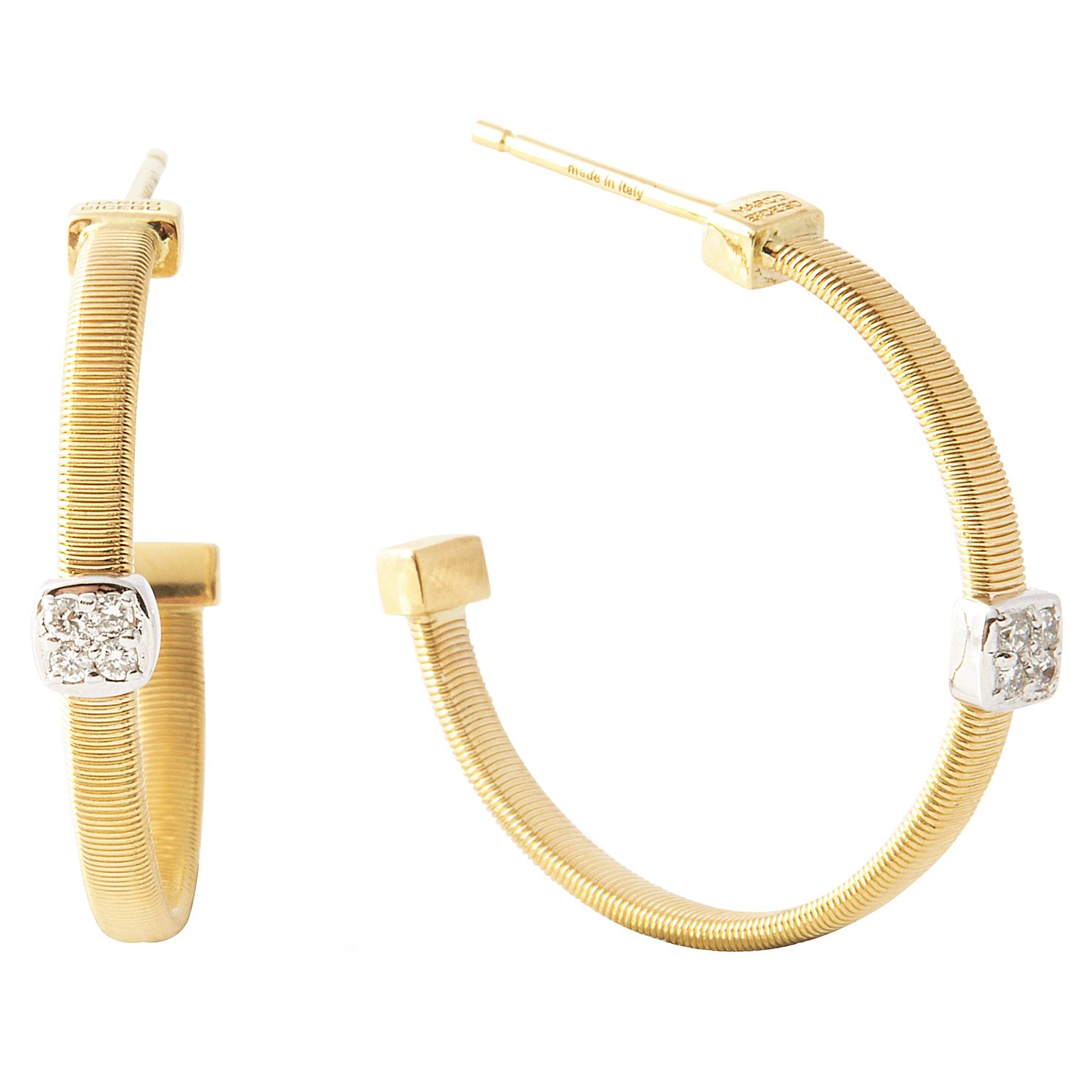 Marco Bicego 18ct Gold Masai 0.06ct Diamond Hoop Earrings - Product number 5279909