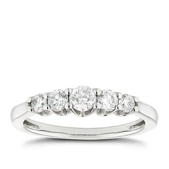Platinum 1/2ct Diamond 5 Stone Gradient Eternity Ring - Product number 5281148