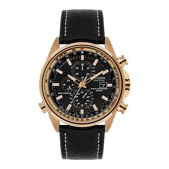 Citizen Eco-Drive World Time Chronograph Black Strap Watch - Product number 5281776