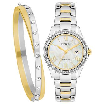 Citizen Eco-Drive Ladies' Two Tone Watch & Bracelet Gift Set - Product number 5282195