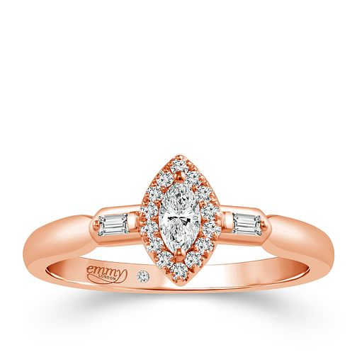 Emmy London 18ct Rose Gold 1/4 Carat Diamond Solitaire Ring - Product number 5286166