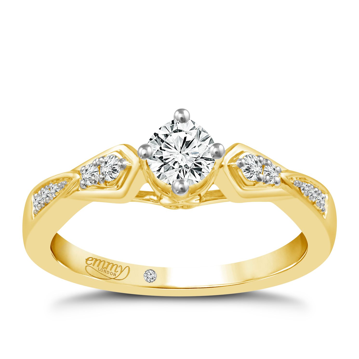 Emmy London 18ct Yellow Gold 1/3ct Diamond Solitaire Ring - Product number 5286425