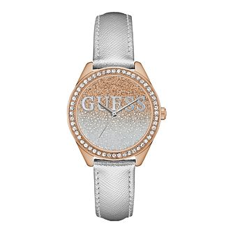 Guess Glitter Girl Ladies' Silver Leather Strap Watch - Product number 5288878