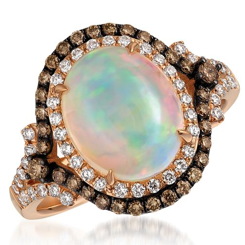 Le Vian 14ct Strawberry Gold Chocolate Opal & Diamond Ring - Product number 5289084