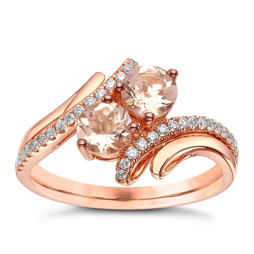 Le Vian 14ct Strawberry Gold Peach Morganite & Diamond Ring - Product number 5289203