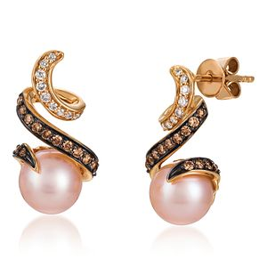 Le Vian 14ct Strawberry Gold Pearl & Diamond Swirl Earrings - Product number 5289254