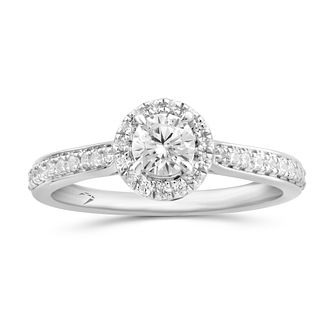 Arctic Light Platinum 0.66ct Total Diamond Round Halo Ring - Product number 5291216