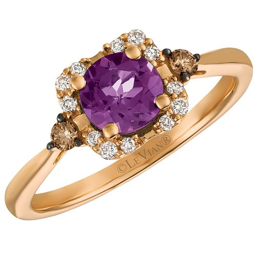 14ct Strawberry Gold Grape Amethyst & Diamond Ring - Product number 5292085