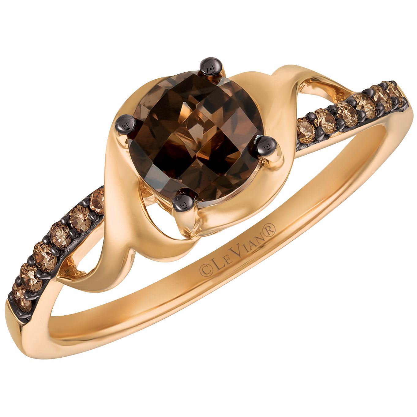 14ct Strawberry Gold Chocolate Quartz and Diamond Ring - Product number 5292239