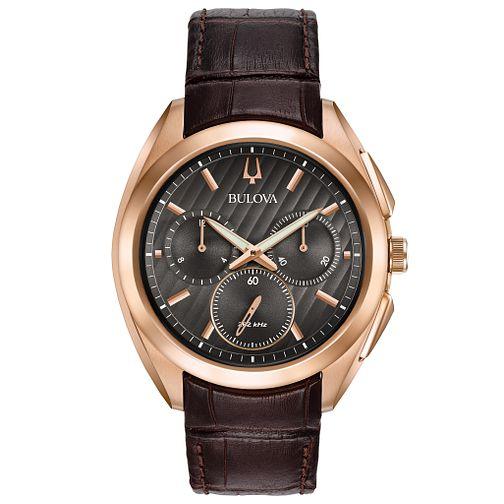 Bulova Men's Curv Chronograph Brown Leather Strap Watch - Product number 5293243