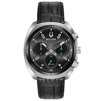 Bulova Men's Curv  Chronograph Black Leather Strap Watch - Product number 5293286