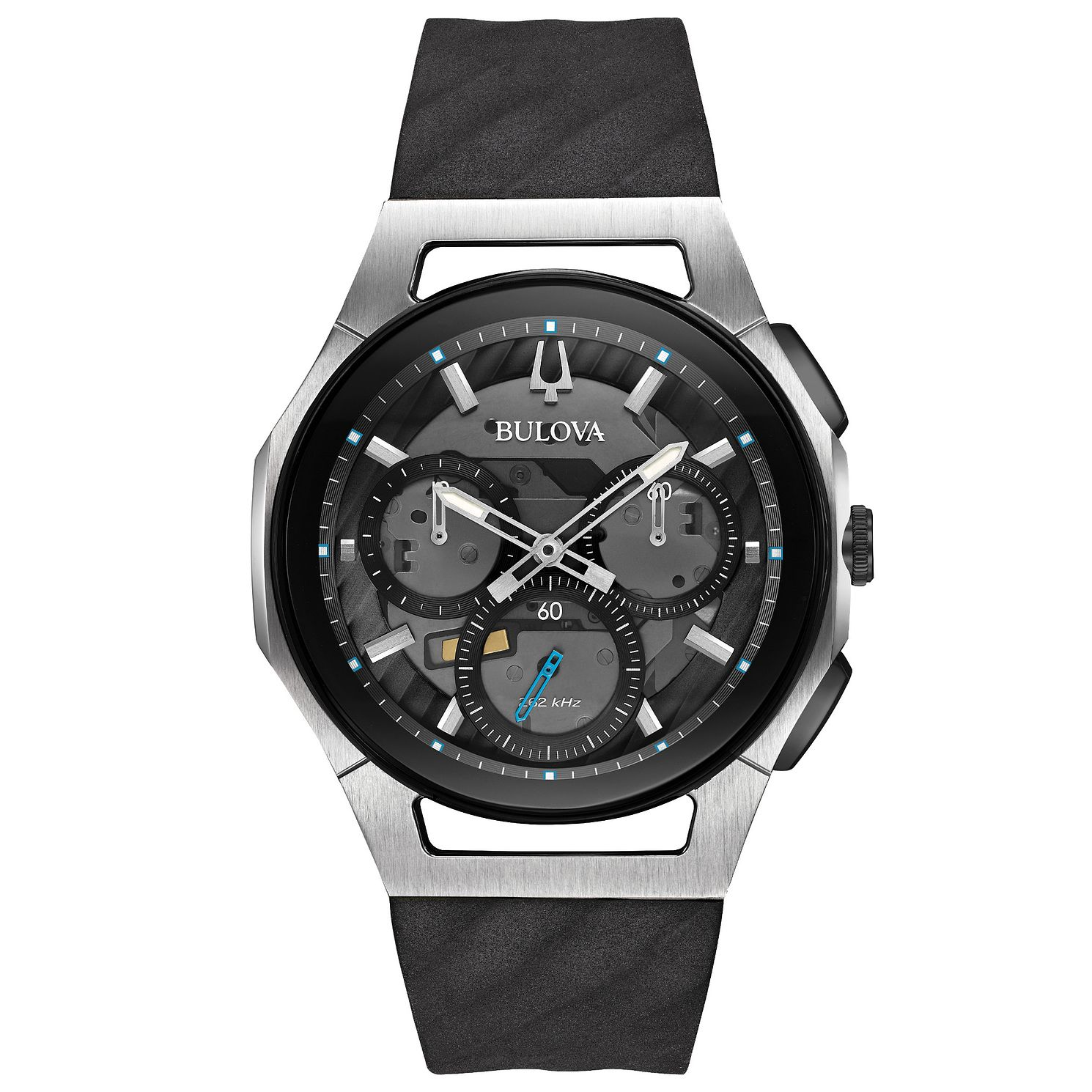 Bulova Men's Curv Chronograph Black Rubber Strap Watch - Product number 5293308