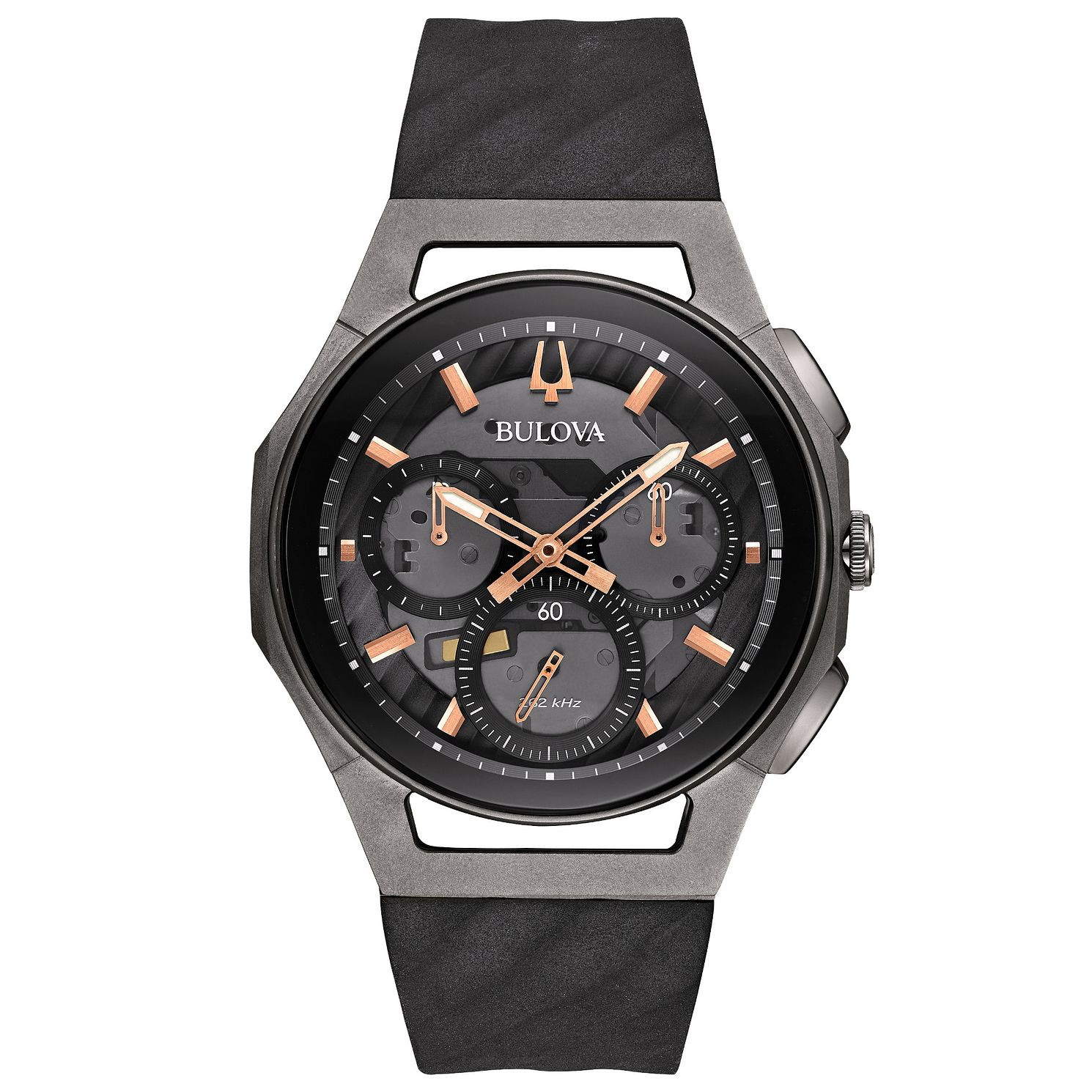Bulova Men's Curv Chronograph Black Rubber Strap Watch - Product number 5293316