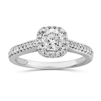 Arctic Light Platinum 0.66ct Total Diamond Cushion Halo Ring - Product number 5293464