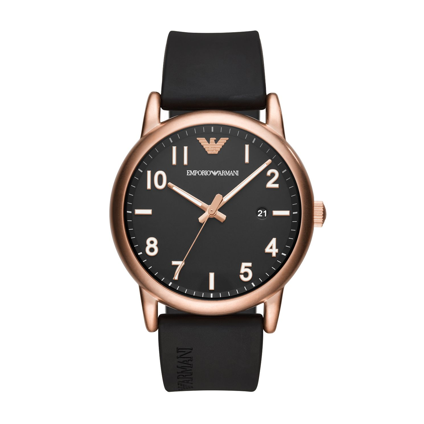Emporio Armani Men's Black Rubber Strap Watch - Product number 5295491