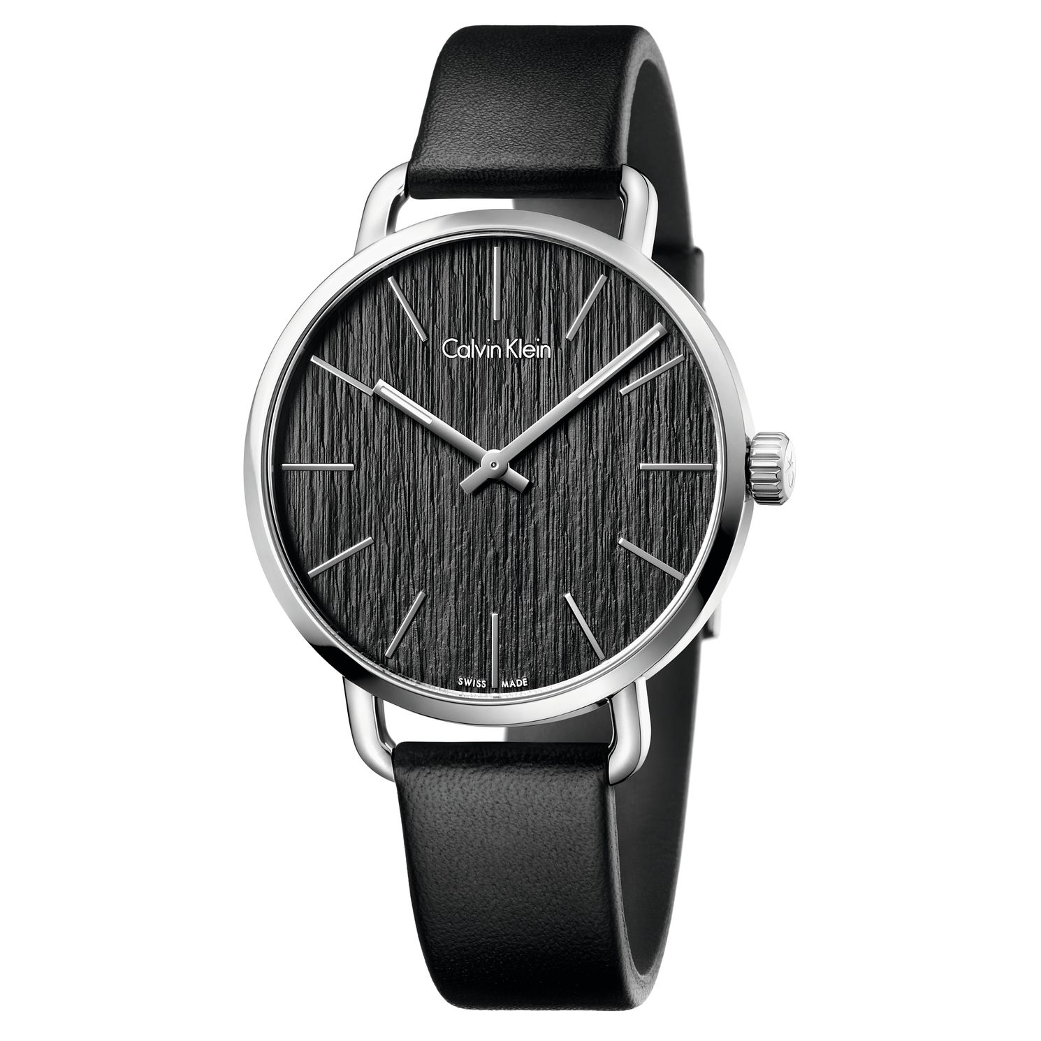 Calvin Klein Even Men's Black Dial Black Leather Strap Watch - Product number 5296056
