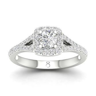 The Diamond Story 18ct White Gold 3/4ct Diamond Cushion Ring - Product number 5296234