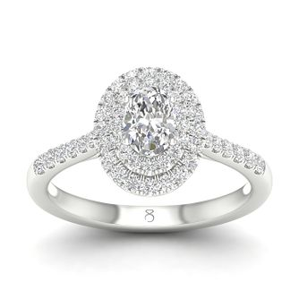 The Diamond Story 18ct White Gold 3/4ct Diamond Oval Ring - Product number 5297044
