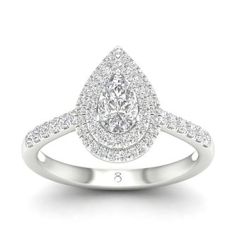 The Diamond Story 18ct White Gold 3/4ct Diamond Pear Ring - Product number 5297176