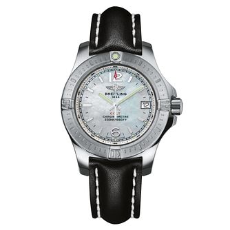 Breitling Colt Lady Ladies' Black Leather Strap Watch - Product number 5297729